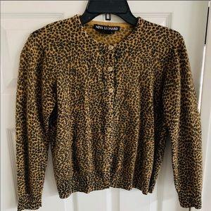 Nina Leonard Lambswool Angora Leopard Cardigan